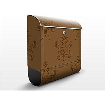 Buzón de diseño Romantic Bouquet Brown 39x46x13cm, acero inoxidable, buzón, diseño buzón, postbox, diseño de correos con compartimento para periódicos, caja, Tamaño: 46cm x 39cm: Amazon.es: Bricolaje y herramientas