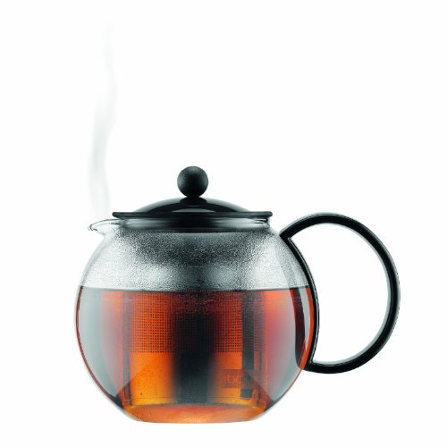 Bodum Assam Glass Tea Press with Stainless Steel Filter and Black Handle and Lid, 1.0-Liter, 34-Ounce