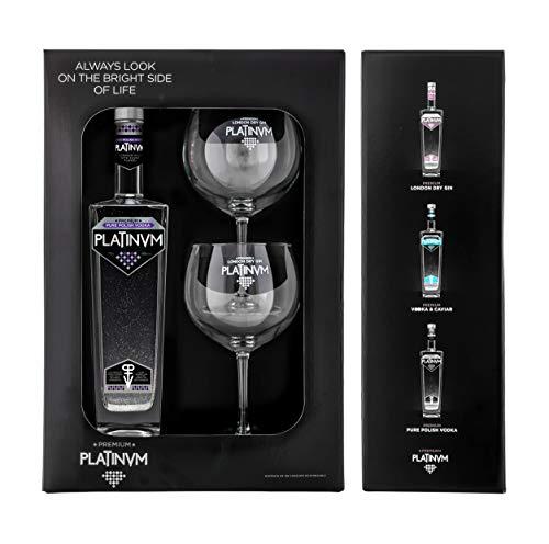 Pack vodka de lujo Platinvm con Plata y dos elegantes copas para degustarlo - ideal regalo Navidad,...