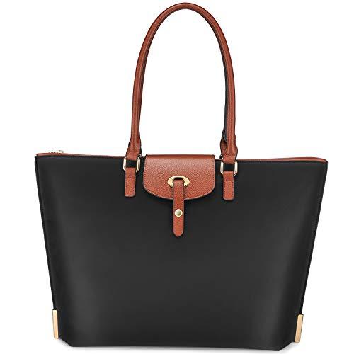 Realer Handtasche Große Shopper Tasche Damen 15,6 Zoll Laptop Arbeit Frauen Taschen Nylon Leichte Schwarz für Business/Schule/Reise/Einkauf