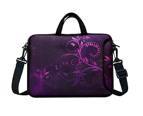 14-Inch Neoprene Laptop Shoulder Messenger Bag Case Sleeve for 13 13.3 14 14.1' Inch Notebook/Chromebook (Purple Flower)