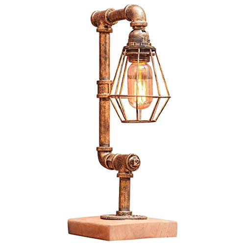 GX Lámpara de mesa con tubo de agua, lámpara de mesa retro industrial, lámpara de escritorio Steam Punk, luz ajustable E27, portalámparas DIY de hierro forjado, base de madera, imitación de co