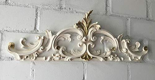 Wanddeko Barock Wandbehang Weiß-Gold Deko 75x26x3 Wandrelief Deko Antik C1521