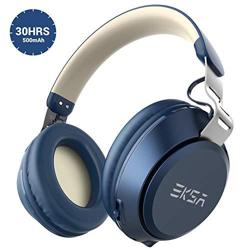 EKSA オーバーイヤーヘッドホン Bluetooth5.0 30時間 500mAh E100 (ブルー)