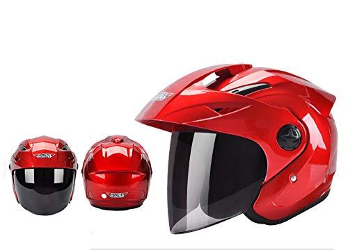 nohbi Motocross Sturzhelm,Halber Helm Motorrad Retro Helm, großer Reitwinter tragbarer Cooler Helm - rot,Fahrradhelm für Erwachsene