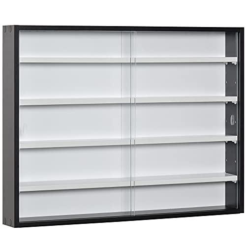 HOMCOM 5-Tier Wall Display Shelf Unit Cabinet w/ 4 Adjustable Shelves Glass Doors Home Office Ornaments 60x80cm Black/White