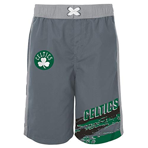 Outerstuff NBA Big Boys Youth (8-20) Grey Heat-Wave Swim Shorts, Boston Celtics Large (14-16)