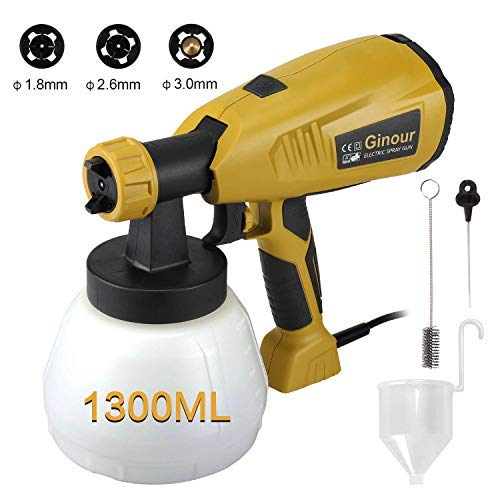 Paint Sprayer, Ginour 400W 1300ml Detachable Container, Fence Sprayer with 3...