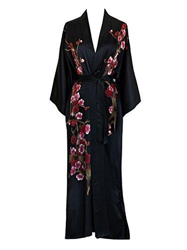 Damen Kimono aus Seide, lang, handbemalt - Schwarz -...