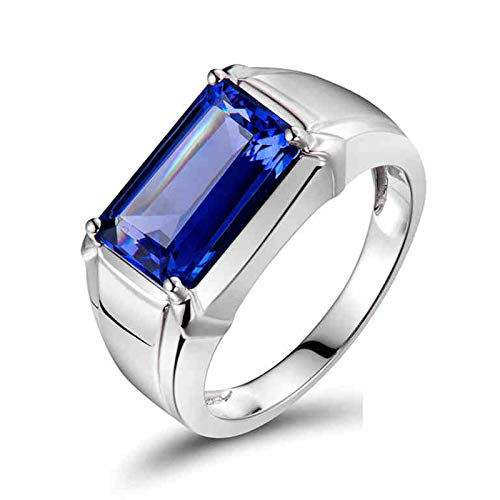 KnSam 18K White Gold Wedding Bands Men, Simple Design 4 Claws Rectangular Cut Blue Tanzanite 4ct IF Silver Ring Size N 1/2