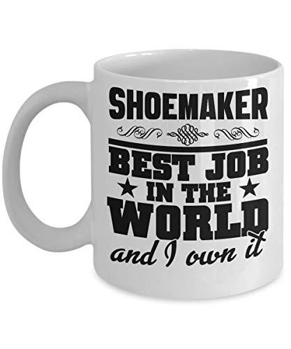 N\A Taza de Zapatero - El Mejor Trabajo del Mundo y yo lo poseo - Taza de café de cerámica pequeña con el Mejor Trabajo - Cumpleaños, Aniversario, calcetín, Zapatero, Esposo, Esposa, co