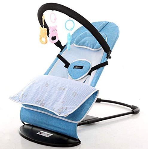 MUZILIZIYU Bebé Bouncer Silla Balance de Seguridad Soft Newborn Asiento para bebés Placa de Mentira Ajustable Plegable con Accesorios Barra de Juguete extraíble para recién Nacido a 2 años, Azul
