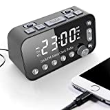 ERGEFSD Radiosveglia Digitale Dab/Dab +/FM, Radiosveglia Doppia Funzione con Display a LED Dimmerabile, Radio Sveglia Digitale da Comodino con Doppie Porte di Ricarica USB, Funzione Snooze-Nero