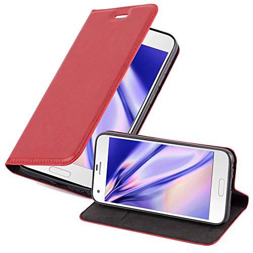 Cadorabo Hülle für HTC One A9S in Apfel ROT - Handyhülle mit Magnetverschluss, Standfunktion & Kartenfach - Hülle Cover Schutzhülle Etui Tasche Book Klapp Style