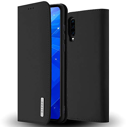 Radoo Huawei P30 Hülle, Premium Echtes Leder Klapphülle Slim Lederhülle TPU Innenraum Hülle Schlanke Ledertasche Handyhülle für Huawei P30 (Schwarz)
