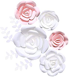 Fonder Mols 3D Paper Flowers Decorations (Pink White, Set of 5) Giant Wedding Flowers Centerpieces, Birthday Backdrop, Nursery Wall Decor, Photobooth (NO DIY)