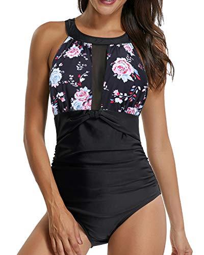 Sixyotie Badeanzug Schwimmanzug Damen Einteiler Schlankheits Raffung High Neck Bademode Strandmode, Gr.-EU 42/ Etikettengröße- XL, Rose1