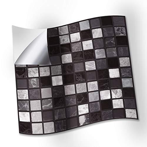 WALPLUS Marquina Wandfliesenaufkleber, Marmor-Mosaikfliesen, 15 cm, 24 Stück, Schwarz / Weiß