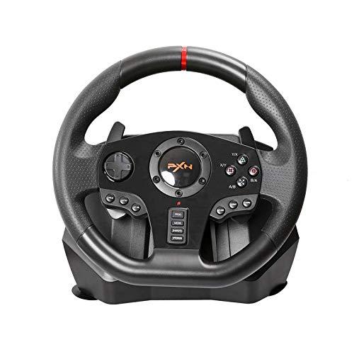 Racing Wheel, 900 Niveau Moteur Vibration Sport en Jeu Volant de Course avec Vitesse Responsive et pédales pour PS4, PS3, PC, X360, Switch