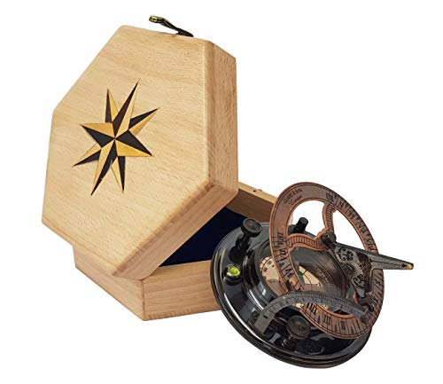 The New Antique Store Antique Sundial Compass Replica 4in - Solid Brass Pocket Sundial - West London