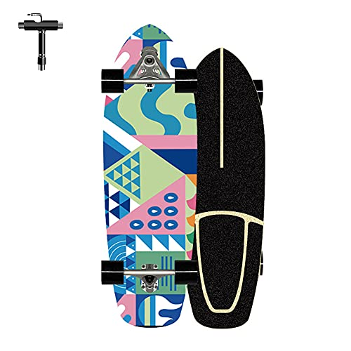 ZBYL Skateboard Complete Board Monopatin 76×24CM Carver Surfskate para Niño Adultos y Principiantes 7 Capas Maple Deck Cruiser Skateboards CX7 Longboard con rodamientos ABEC-7, con Herramienta T