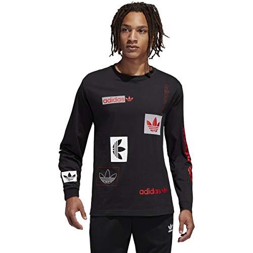 adidas Camiseta básica de manga larga para hombre (talla M, negra)
