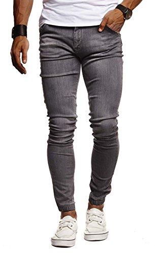 Leif Nelson Herren Jeans Hose Slim Fit Denim Blaue graue Lange Jeanshose für Männer Coole Jungen weiße Stretch Freizeithose Schwarze Cargo Chino Sommer Winter Basic LN9170 Schwarz W32/L30