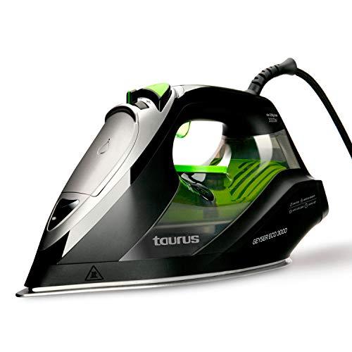 Taurus Geyser Eco 3000 3000-Plancha 3000W, Elimina Virus y bacterias, 200 g/min, Punta de precisión, regulador de Vapor y Temperatura, antical Recargable, W, Suela anodizada ultradesliante, Negro