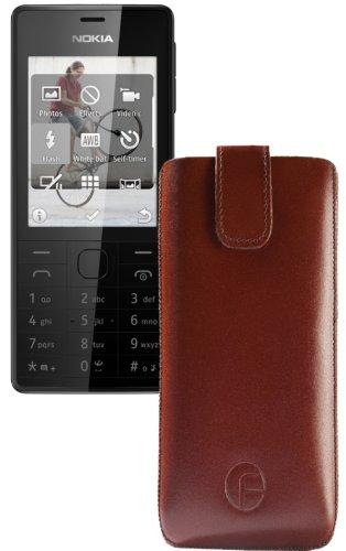 Original Favory Etui Tasche für / Nokia 515 / Leder Etui Handytasche Ledertasche Schutzhülle Case Hülle Lasche mit Rückzugfunktion* in Braun