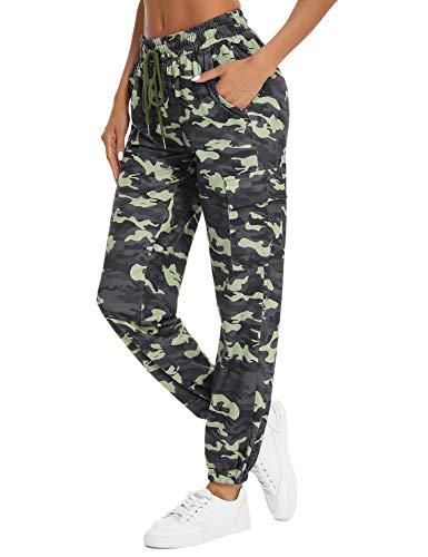 Doaraha Pantalones Deportivos Mujer Algodón Pantalón de Chándal Elásticos Transpirables con Bolsillos Laterales para Deporte Gimnasio Fitness Correr (934# Camuflaje Verde Militar, L)