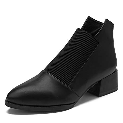 Stivali ad Alta Caviglia Tacco Donne Stivali Corti Autunno Inverno Pompe Casual Fashion Block Tacco Puntato Stivali