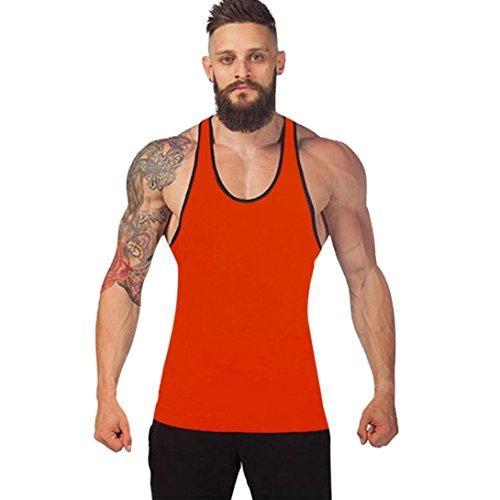 URSING_Herren Muscle Fitness Gym Stringer Tank Tops Men\'s Bodybuilding Workout Shirts Vest Männer Racerback Singlet Sport Ärmelloses Shirt Coole Unterhemd Muskelshirt Trainingshirt (M, Orange)