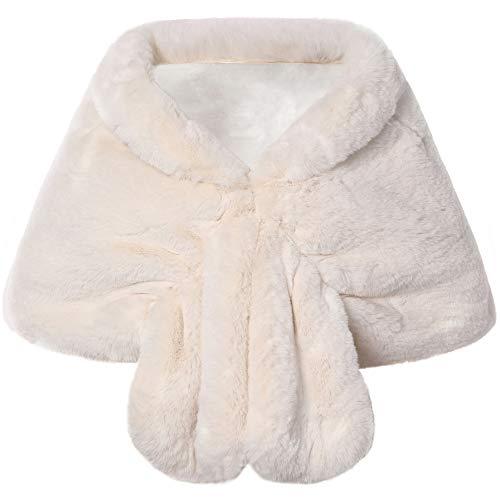 Coucoland Kunst Pelz Schal Damen Flauschig Faux Pelz Umschlagtuch Warm Kragen für Wintermantel 1920s Accessoires Gatsby Kostüm Zubehör (Beige, L)