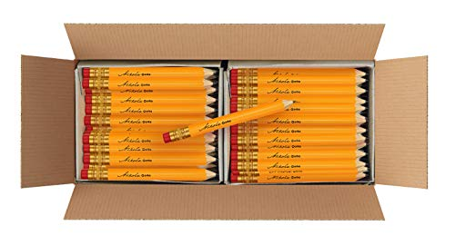 Nikola Works Classic American Standard #2 HB Mini Golf Pre-Sharpened Pew Pencils With Erasers Hex Shaped Bulk 192 Count