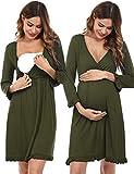 Doaraha Camisón Lactancia Algodón Mujer Ropa de Dormir Premamá Hospital Vestido de Maternidad Embarazo Pijama Embarazadas Camisones Embarazada Manga Corta 3/4 Suave (A# Verde - Manga 3/4, M)