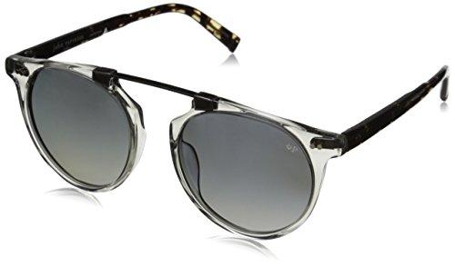 John Varvatos Men's V602 Polarized Round Sunglasses, Grey Crystal UF, 52 mm