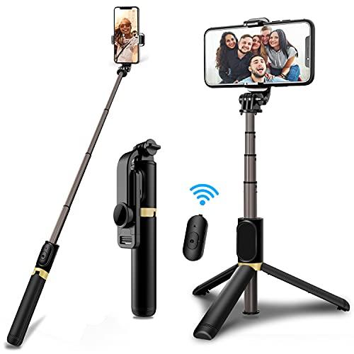 JPARR Selfie Stick Tripod, 4 in 1 Selfie Stick with Detachable Bluetooth...