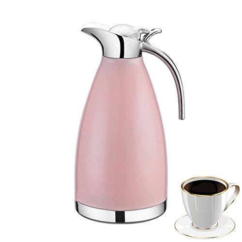 OnePine 2 L Caraffa Termica in acciaio inox Isolamento caffettiera pot Isolamento sottovuoto a doppia parete Teiere Doppio uso calda e fredda (Rosa)