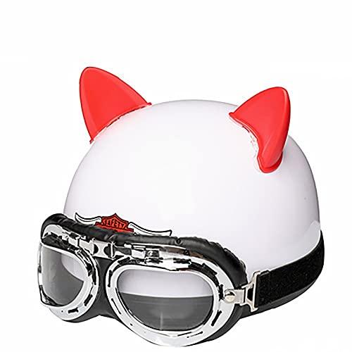 Cascos de Motocicleta,Medio Casco de Moto con Gafas de Piloto,Certificación ECE Half Face Cycling Motorbike Open Face Helmet,Apto Para Deportes al Aire Libre B,M