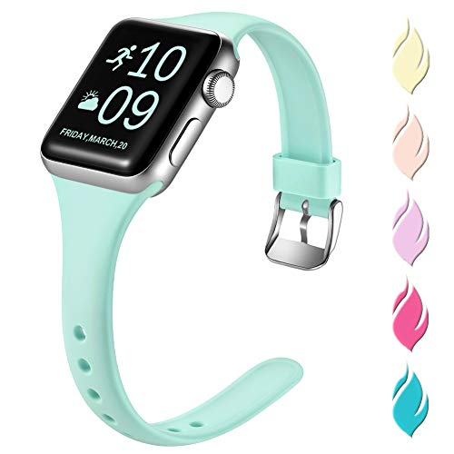 Henva Slim Band Compatible with Apple Watch SE Band 40mm 38mm, Replacement Accessories Soft Durable Silicone Thin Strap for Apple/iWatch Series 6/5/4/3/2/1,Tiffany Blue, S/M