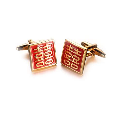 DOLOVE Manschettenknöpfe Herren Modern Doppeltes Glück Chinesisches Schriftzeichen Manschettenknöpfe Herren Rotgold