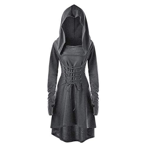 Alwayswin Damen Mittelalterliches Kleid Vintage Kleid mit Kapuze Schnüren Sich Oben Langer Kleid Pullover Mantel Langarm Einfarbig Kleid Halloween Kostüm Hoher Niedriger Verband