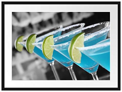 Picati schöne Swimming Pool Cocktails Bilderrahmen mit Galerie-Passepartout | Format: 80x60cm | garahmt | hochwertige Leinwandbild Alternative