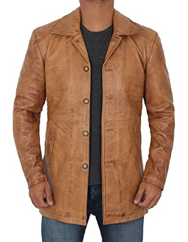 fjackets Distressed Mens Leather Coat - Real Lambskin Tan Leather Jackets for Men | [1501484], Natural Distressed Brown,L