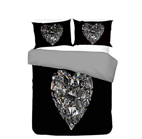 WPHRL Diamante en Forma de corazón sobre Negro Juego de Ropa de Cama de 3D Funda nórdica de Microfibra Ligera con Cierre de Cremallera Doble 220x240cm(1 Funda nórdica + 2 Fundas de Almohada)