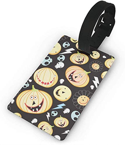 Texture of Pumpkins for Halloween Travel Luggage Tag Cool Employee's Card Luggage Tag Holders for Baggage Suitcases Bags,White
