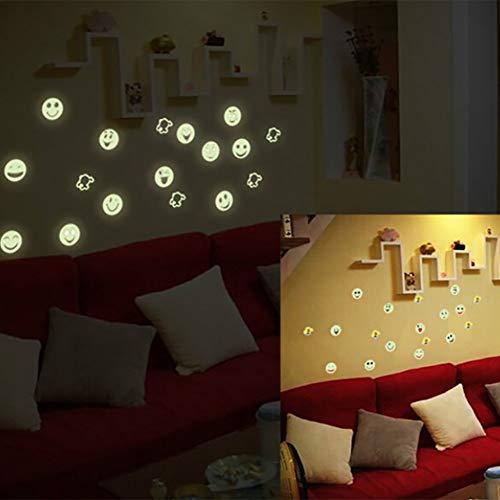 Glow In The Dark Leuchtende Fluoreszierende PVC Wandaufkleber Emoji Smiley Wandaufkleber Arts Decol Home Raumdekoration