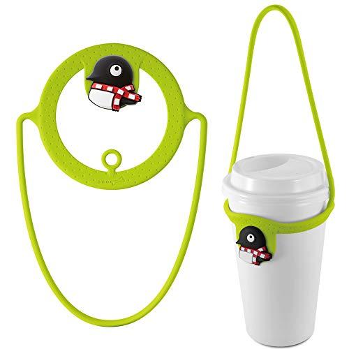 Witzig Tragbar Getränkehalter, Umweltfreundliche Wasserflasche Träger, Halterung für Becher für Tee Kaffee zum Mitnehmen, Becherträger Passend für Shopping Unterwegs (Maru Pinguin)