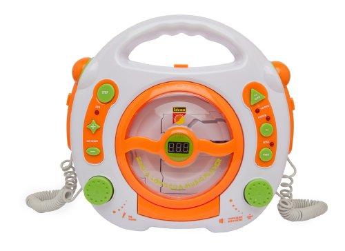 Idena 6800533 CD Player Sing Along für Kinder, tragbar und batteriebetrieben, mit USB Anschluss, Anti-Schock und zwei Mikrofonen für Karaoke