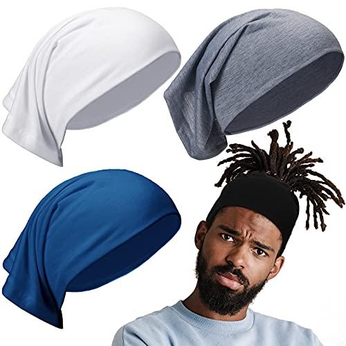 4 Packs Unisex Spandex Dreadlocks Tube Elastic Long Hair Dreads Head Wrap for Women Men (Black, White, Grey and Blue)